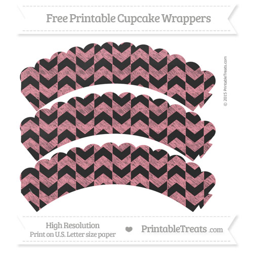 Free Salmon Pink Herringbone Pattern Chalk Style Scalloped Cupcake Wrappers