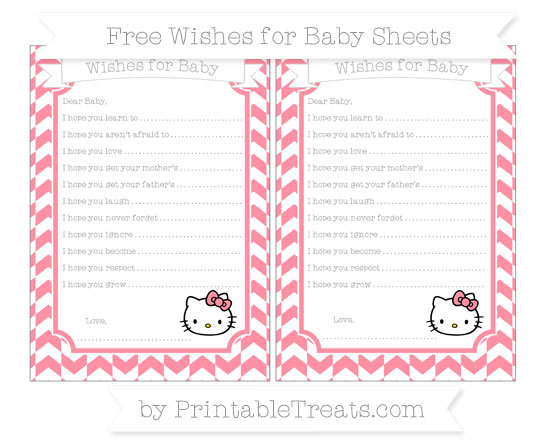 Free Salmon Pink Herringbone Pattern Hello Kitty Wishes for Baby Sheets