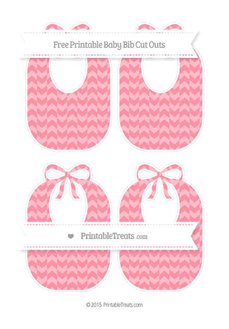 Free Salmon Pink Herringbone Pattern Medium Baby Bib Cut Outs