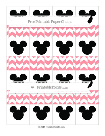 Free Salmon Pink Herringbone Pattern Mickey Mouse Paper Chains