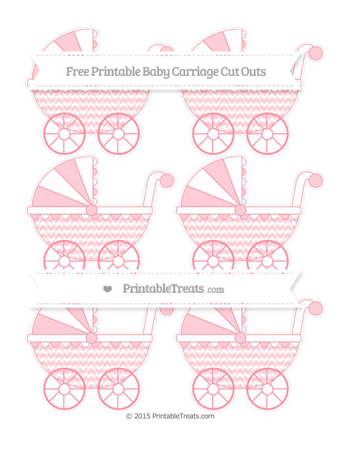 Free Salmon Pink Herringbone Pattern Small Baby Carriage Cut Outs