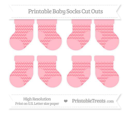 Free Salmon Pink Herringbone Pattern Small Baby Socks Cut Outs