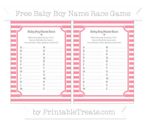 Free Salmon Pink Horizontal Striped Baby Boy Name Race Game