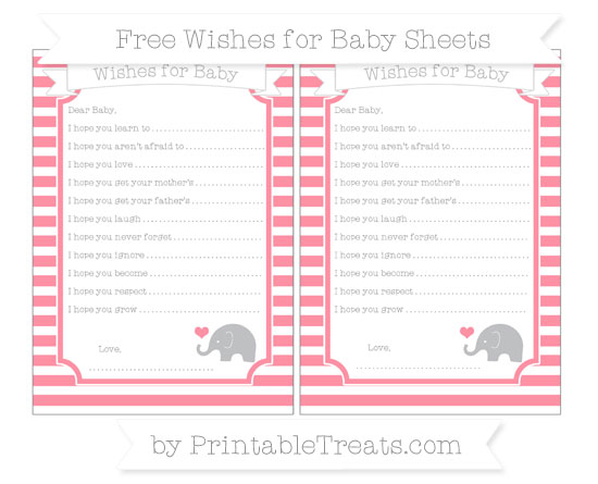 Free Salmon Pink Horizontal Striped Baby Elephant Wishes for Baby Sheets