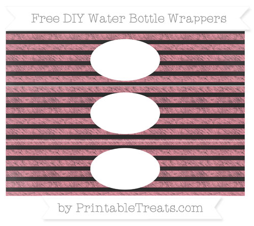 Free Salmon Pink Horizontal Striped Chalk Style DIY Water Bottle Wrappers