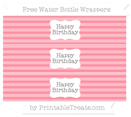 Free Salmon Pink Horizontal Striped Happy Birhtday Water Bottle Wrappers