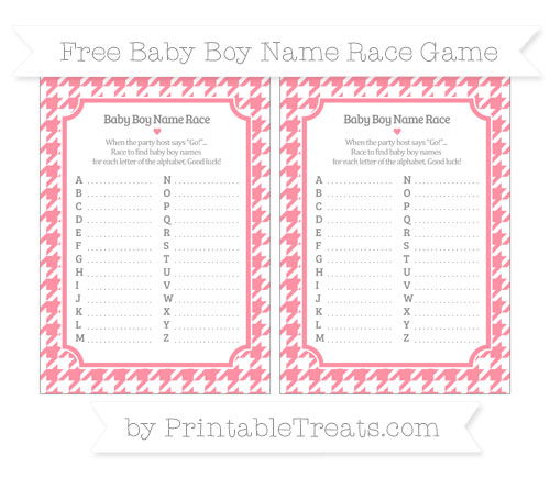 Free Salmon Pink Houndstooth Pattern Baby Boy Name Race Game