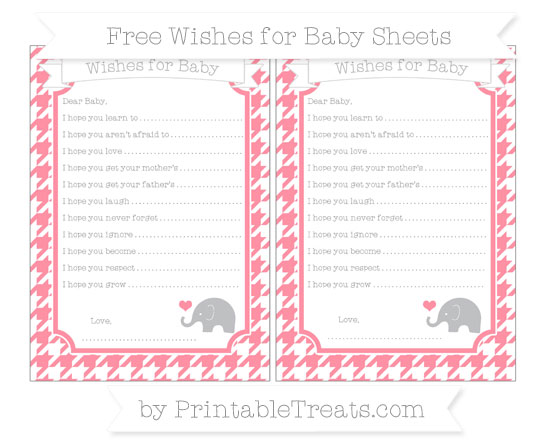 Free Salmon Pink Houndstooth Pattern Baby Elephant Wishes for Baby Sheets