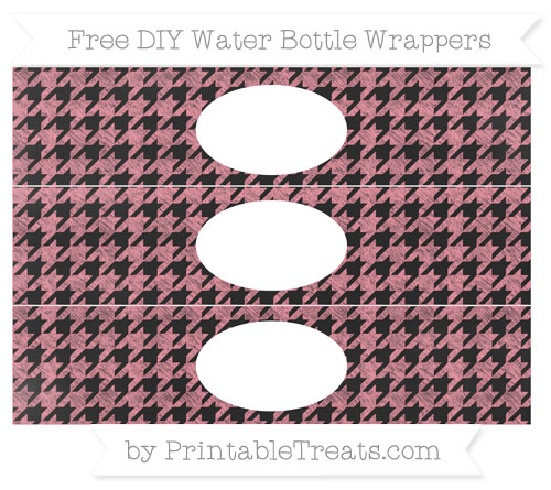 Free Salmon Pink Houndstooth Pattern Chalk Style DIY Water Bottle Wrappers
