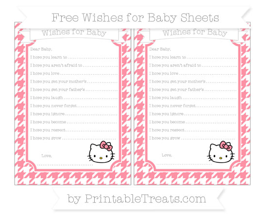 Free Salmon Pink Houndstooth Pattern Hello Kitty Wishes for Baby Sheets