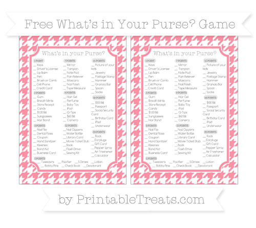 Free Salmon Pink Houndstooth Pattern What's in Your Purse Baby Shower Game