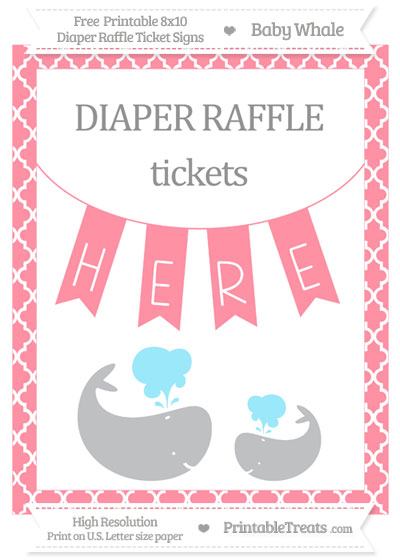 Free Salmon Pink Moroccan Tile Baby Whale 8x10 Diaper Raffle Ticket Sign