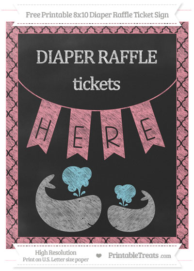 Free Salmon Pink Moroccan Tile Chalk Style Baby Whale 8x10 Diaper Raffle Ticket Sign