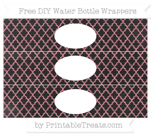Free Salmon Pink Moroccan Tile Chalk Style DIY Water Bottle Wrappers