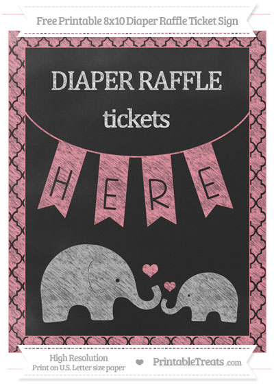 Free Salmon Pink Moroccan Tile Chalk Style Elephant 8x10 Diaper Raffle Ticket Sign