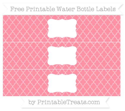 Free Salmon Pink Moroccan Tile Water Bottle Labels