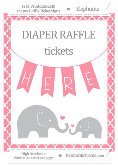 Free Salmon Pink Moroccan Tile Elephant 8x10 Diaper Raffle Ticket Sign