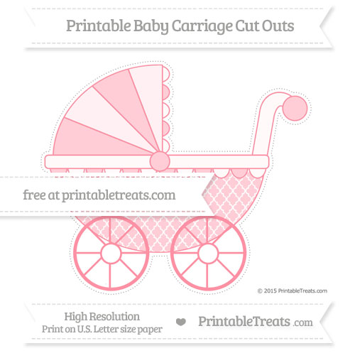 Free Salmon Pink Moroccan Tile Extra Large Baby Carriage Cut Outs