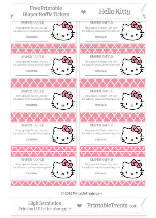 Free Salmon Pink Moroccan Tile Hello Kitty Diaper Raffle Tickets