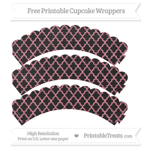 Free Salmon Pink Moroccan Tile Pattern Chalk Style Scalloped Cupcake Wrappers