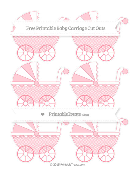 Free Salmon Pink Moroccan Tile Small Baby Carriage Cut Outs