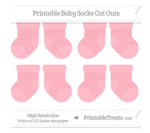 Free Salmon Pink Moroccan Tile Small Baby Socks Cut Outs