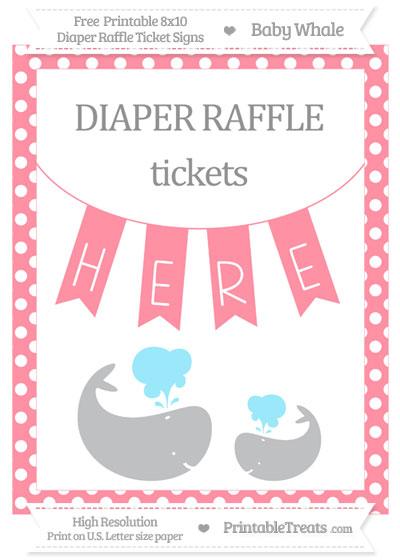 Free Salmon Pink Polka Dot Baby Whale 8x10 Diaper Raffle Ticket Sign