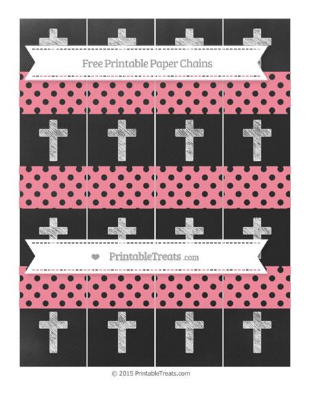 Free Salmon Pink Polka Dot Chalk Style Cross Paper Chains