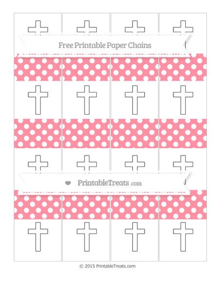 Free Salmon Pink Polka Dot Cross Paper Chains