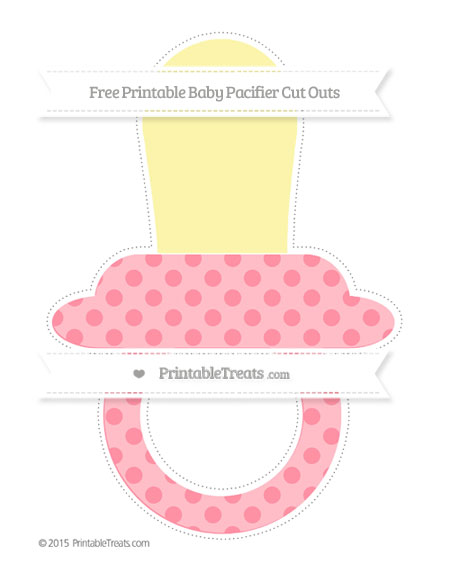 Free Salmon Pink Polka Dot Extra Large Baby Pacifier Cut Outs