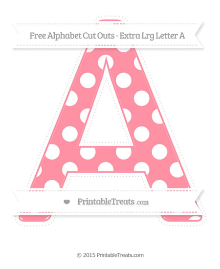 Free Salmon Pink Polka Dot Extra Large Capital Letter A Cut Outs