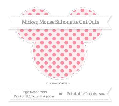 Free Salmon Pink Polka Dot Extra Large Mickey Mouse Silhouette Cut Outs