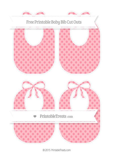 Free Salmon Pink Polka Dot Medium Baby Bib Cut Outs