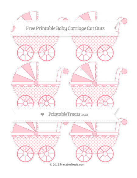 Free Salmon Pink Polka Dot Small Baby Carriage Cut Outs