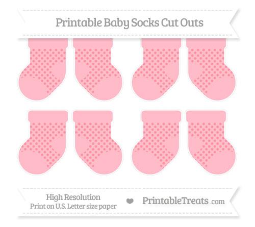 Free Salmon Pink Polka Dot Small Baby Socks Cut Outs
