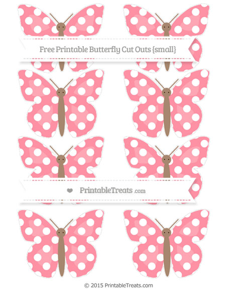 Free Salmon Pink Polka Dot Small Butterfly Cut Outs