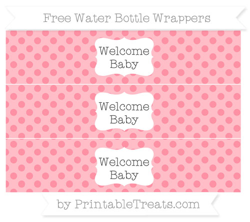 Free Salmon Pink Polka Dot Welcome Baby Water Bottle Wrappers