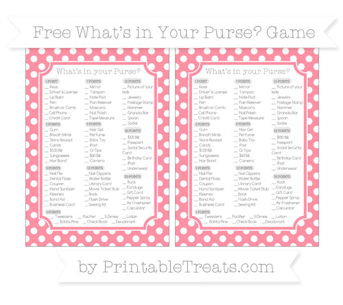 Free Salmon Pink Polka Dot What's in Your Purse Baby Shower Game