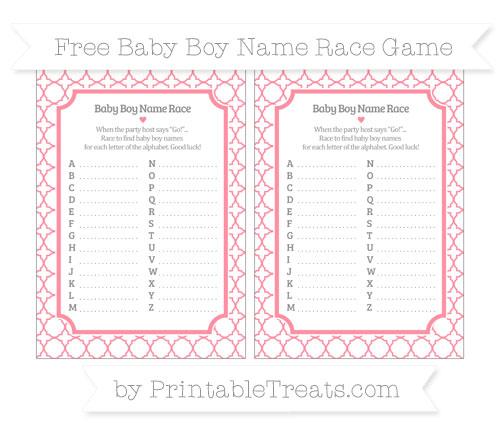 Free Salmon Pink Quatrefoil Pattern Baby Boy Name Race Game