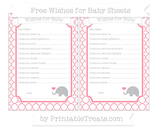 Free Salmon Pink Quatrefoil Pattern Baby Elephant Wishes for Baby Sheets