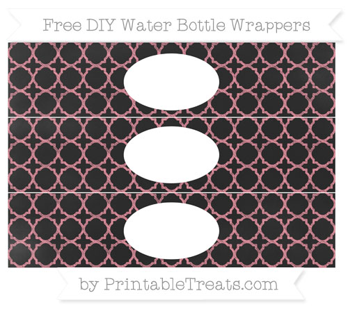 Free Salmon Pink Quatrefoil Pattern Chalk Style DIY Water Bottle Wrappers
