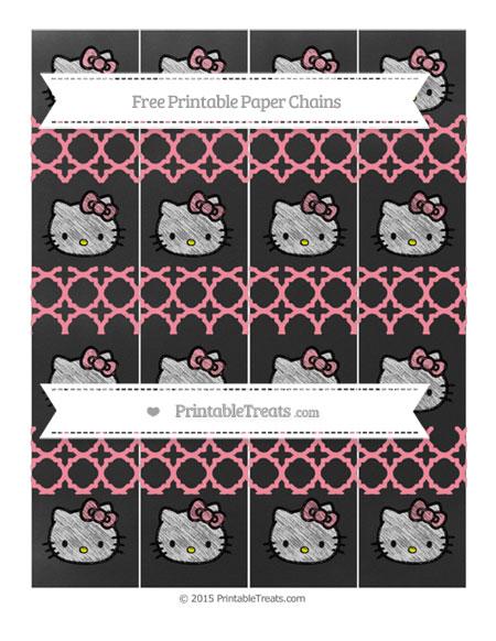 Free Salmon Pink Quatrefoil Pattern Chalk Style Hello Kitty Paper Chains