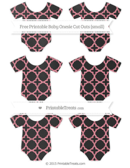 Free Salmon Pink Quatrefoil Pattern Chalk Style Small Baby Onesie Cut Outs