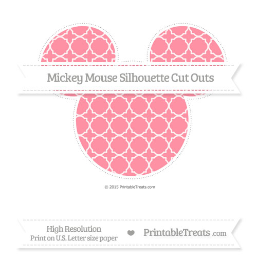 Free Salmon Pink Quatrefoil Pattern Extra Large Mickey Mouse Silhouette Cut Outs