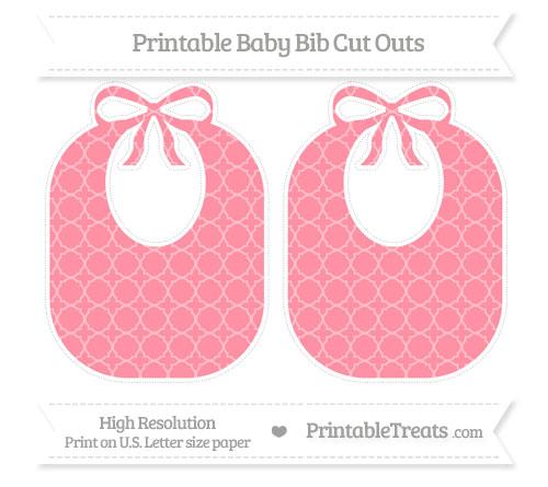 Free Salmon Pink Quatrefoil Pattern Large Baby Bib Cut Outs