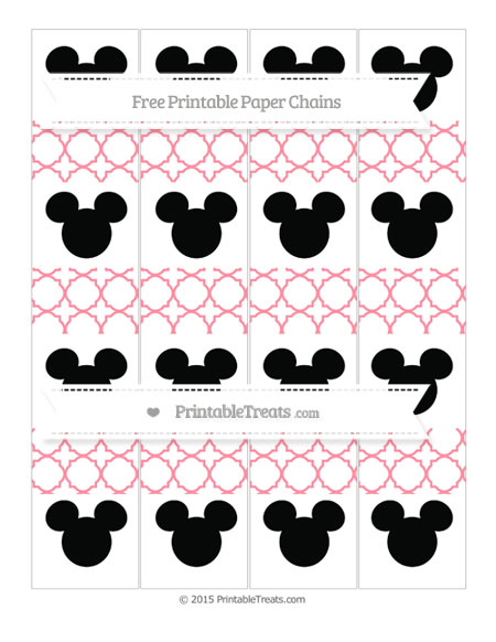 Free Salmon Pink Quatrefoil Pattern Mickey Mouse Paper Chains