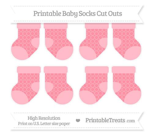 Free Salmon Pink Quatrefoil Pattern Small Baby Socks Cut Outs