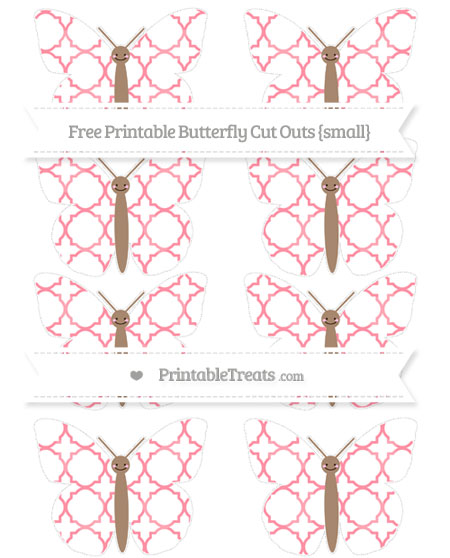 Free Salmon Pink Quatrefoil Pattern Small Smiley Butterfly Cut Outs