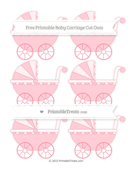 Free Salmon Pink Small Baby Carriage Cut Outs