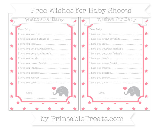 Free Salmon Pink Star Pattern Baby Elephant Wishes for Baby Sheets